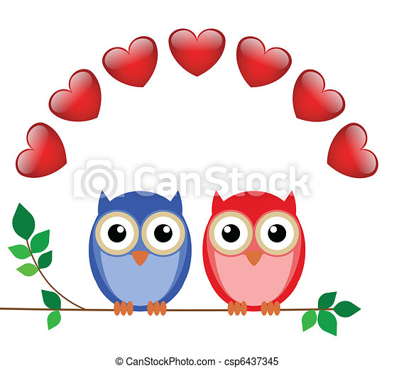 girl and boy owls  - csp6437345