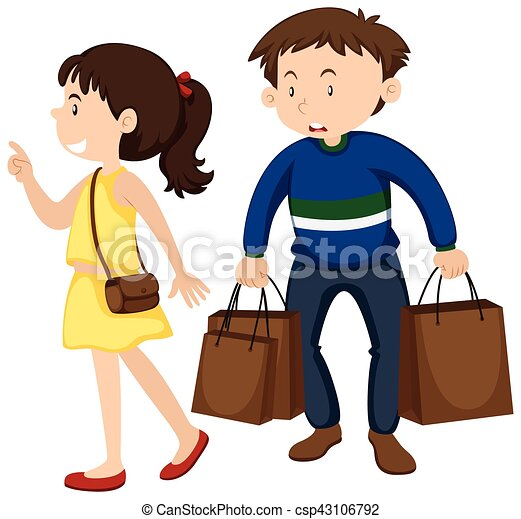 Girl And Boy Shopping Together Illustration