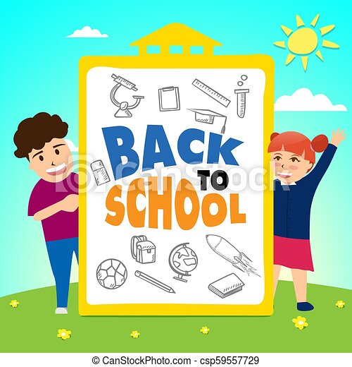 Girl and boy standing with back to school board. cartoon illustration - csp59557729