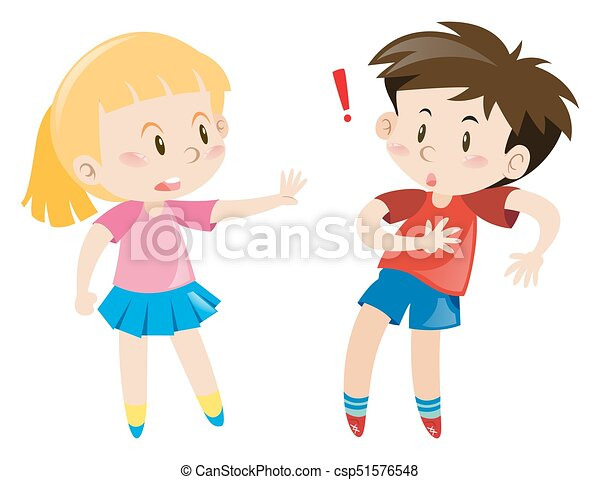 Girl And Boy Together Illustration
