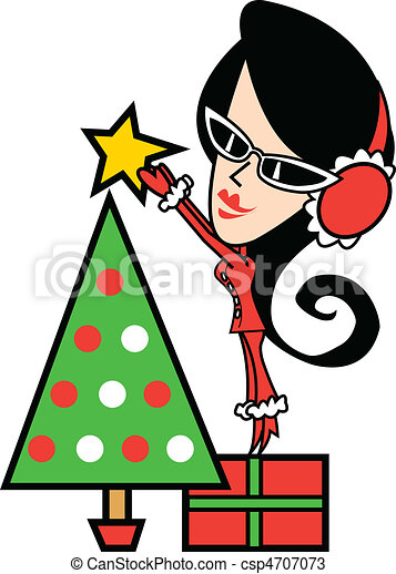 Girl And Christmas Tree Clip Art - csp4707073