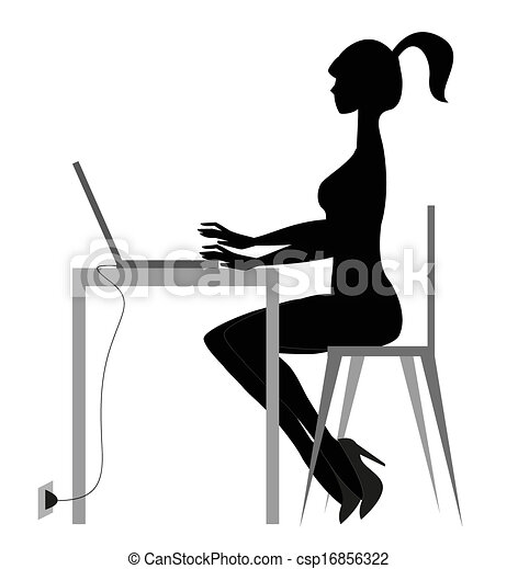 Girl And Computer Silhouettte Female Sitting At Desk In