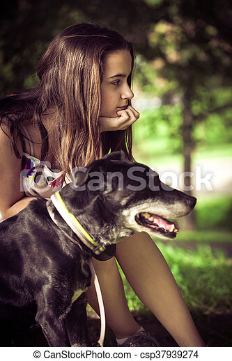 girl and dog portrait - csp37939274
