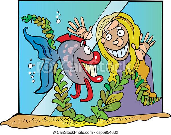 Girl and fish - csp5954682