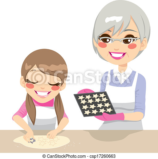 Girl and Grandmother Making Cookies - csp17260663