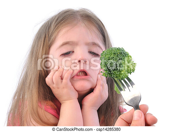 Girl and Healthy Broccoli Diet on White - csp14285380