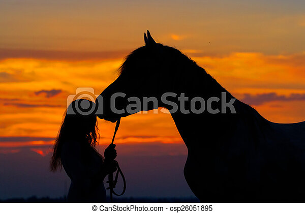 Girl and horse - csp26051895