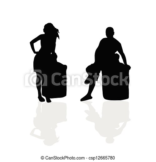 girl and man vector silhouette illustration part two - csp12665780
