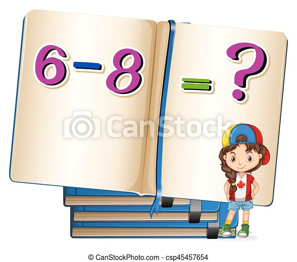 girl and math problem on subtraction illustration rh canstockphoto com addition subtraction clipart subtraction symbol clipart