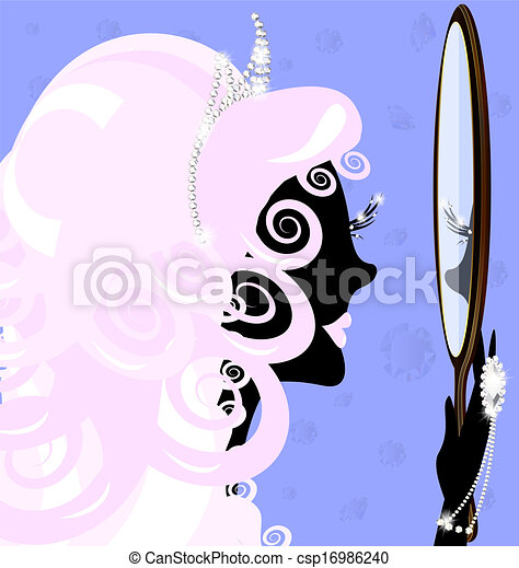 girl and mirror - csp16986240