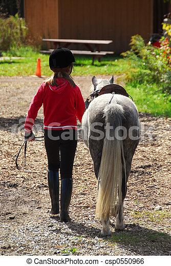 Girl and pony - csp0550966