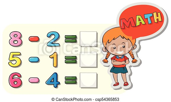 girl and subtraction questions on board illustration clipart vector rh canstockphoto com subtraction clipart black and white subtraction sentence clipart