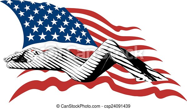 girl and the US flag - csp24091439