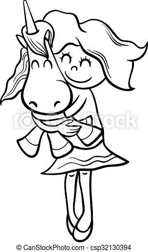 Girl and unicorn coloring book. Black and white cartoon... eps ...