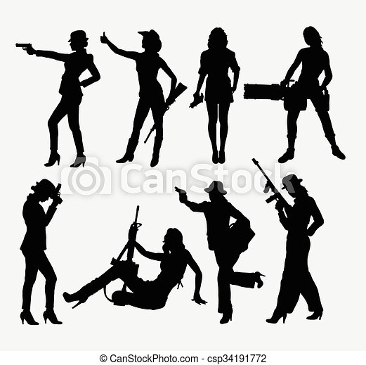 Girl and weapon silhouettes - csp34191772