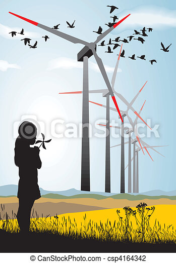 Girl and Wind turbine - csp4164342