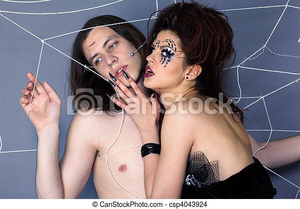 girl, araignés, victime - csp4043924