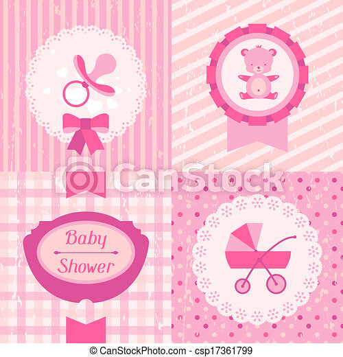 Girl Baby Shower Invitation Cards Eps Vectors Search Clip Art