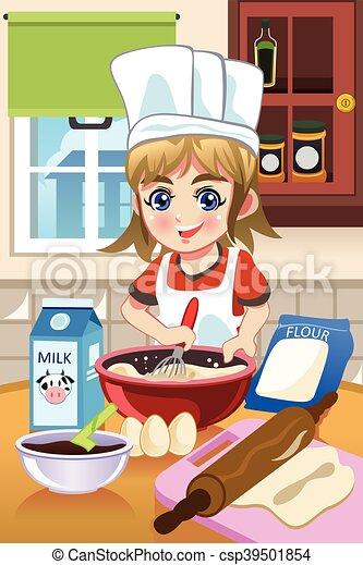 Girl Baking in the Kitchen - csp39501854