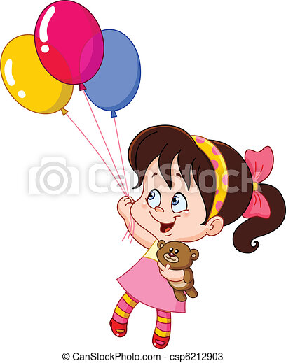girl, ballons - csp6212903