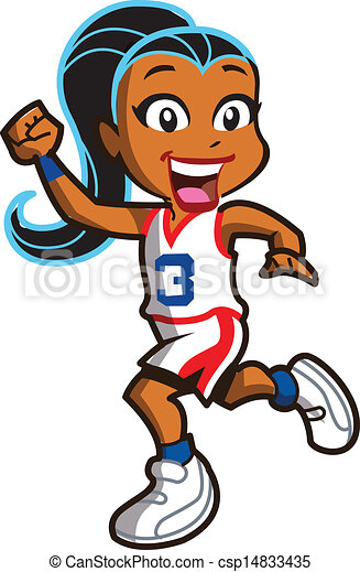smiling ethnic girl basketball player running down the court vectors rh canstockphoto com