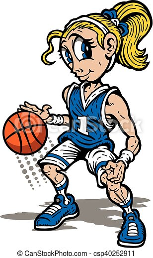 cute girl basketball player mascot for school college or vector rh canstockphoto com free clipart girl basketball player