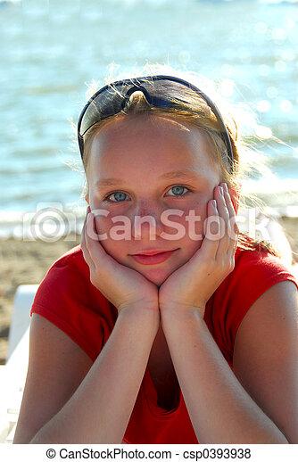 Girl beach relax - csp0393938