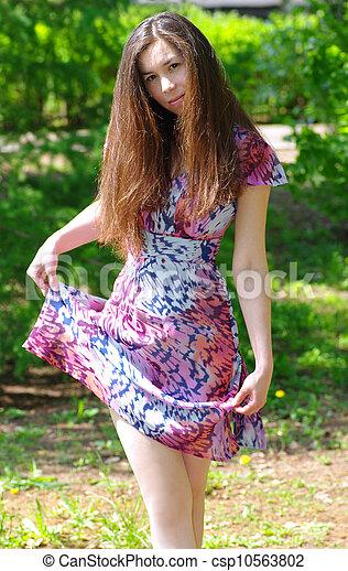 girl, beau, été, jardin - csp10563802