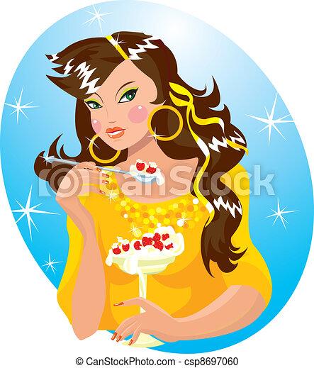 girl, beau, glace-crème mangeant - csp8697060