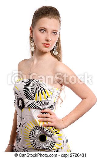 girl, beau, robe - csp12726431
