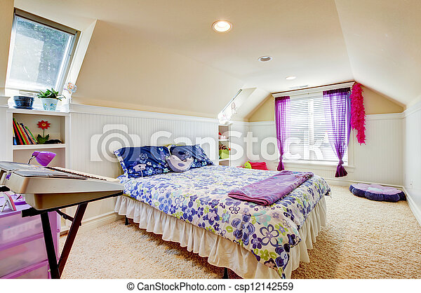Girl bedroom with attic ceiling and beige carpet with toys. - csp12142559