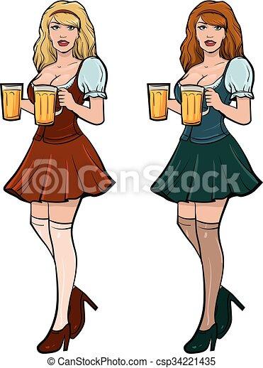 girl beer - csp34221435