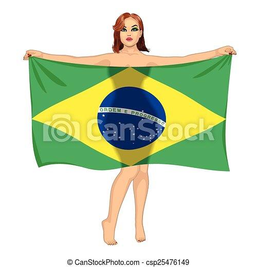 girl behind the flag - csp25476149