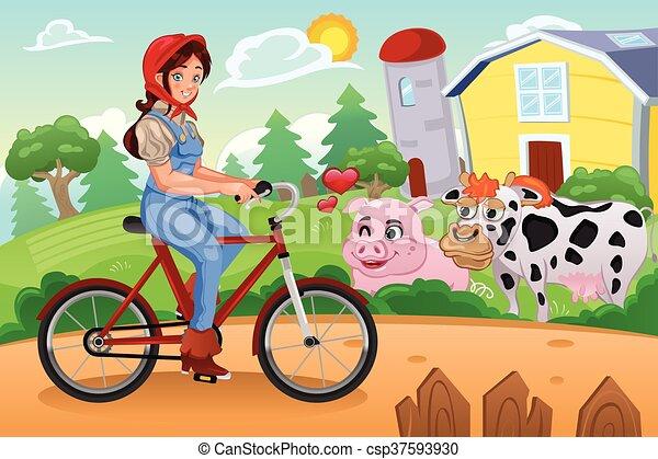 Girl Biking in a Farm - csp37593930