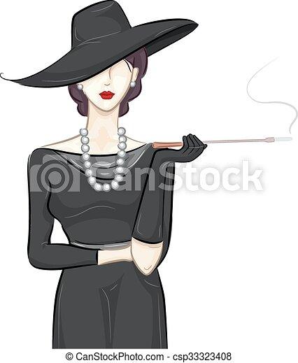 girl black vintage fashion sketch illustration of a