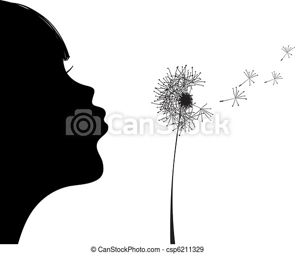 girl blowing to dandelion   - csp6211329