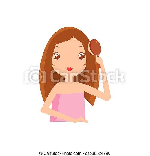 Girl brushing her hair portrait flat cartoon simple... eps ...