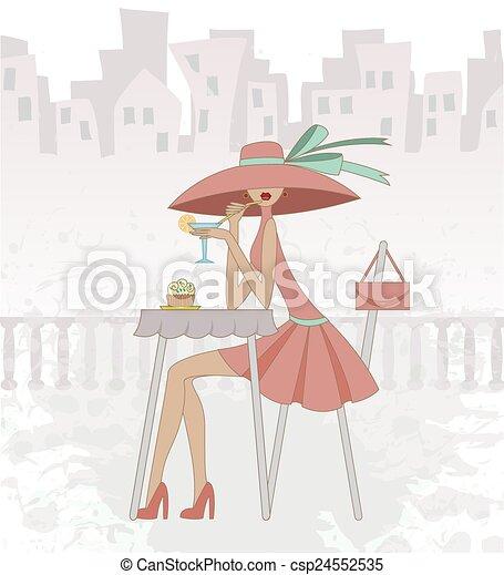 girl, café - csp24552535