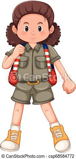 girl, caractère, camping - csp68584772