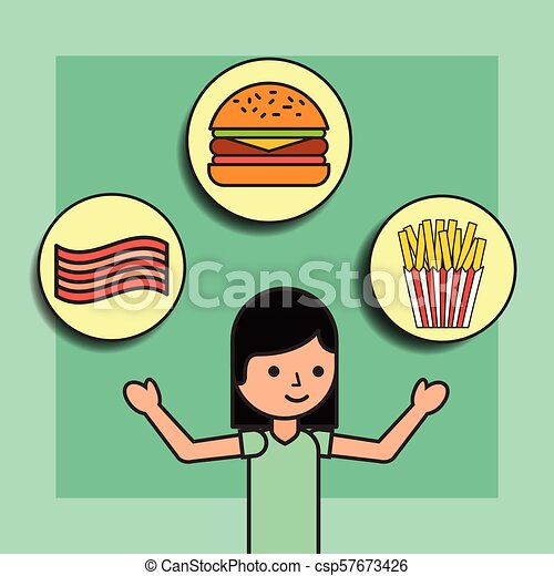 girl cartoon and food burger french fries and bacon - csp57673426
