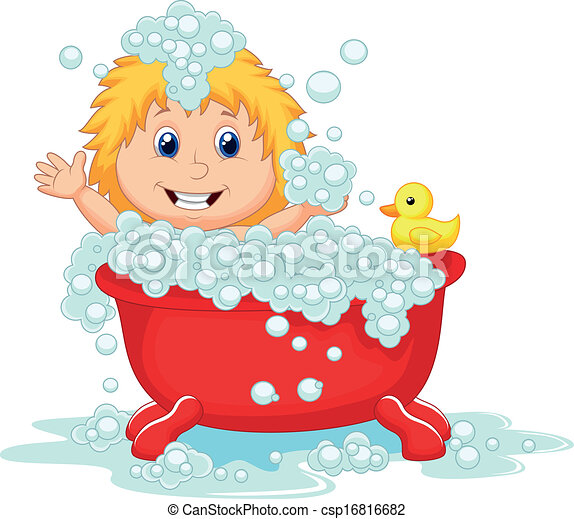 Vector Illustration Of Girl Cartoon Bathing In The Red