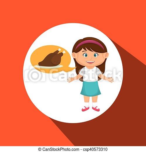 Girl Cartoon Chicken Food Vector Illustration Eps 10