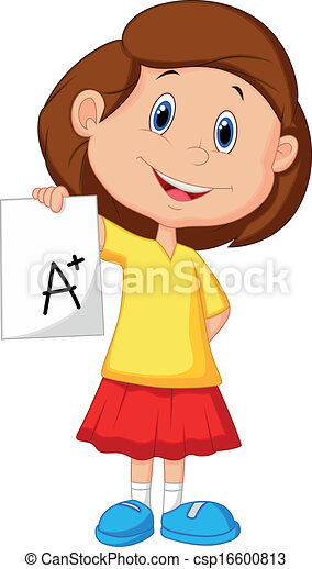 Girl cartoon showing A plus grade  - csp16600813