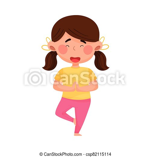 girl character standing in yoga pose and breathing vector