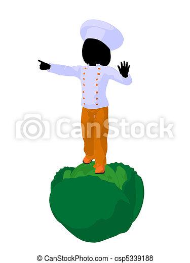 Girl Chef Silhouette Illustration - csp5339188