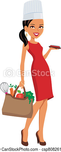 Girl Chef with Groceries - csp8082611