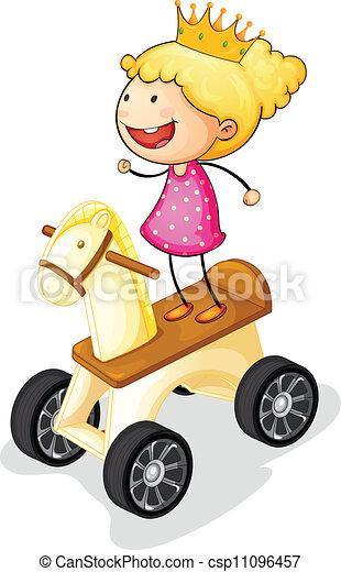 girl, cheval jouet - csp11096457