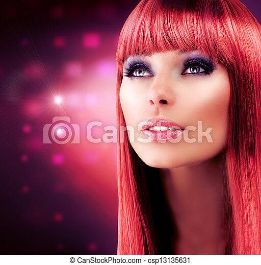 girl, cheveux, chevelure, portrait., modèle, rouges, sain, long, beau - csp13135631