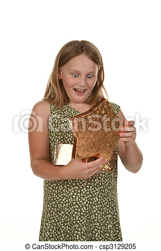 girl child with present - csp3129205