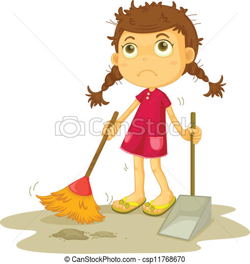 Illustration Of A Girl Cleaning Floor On A White